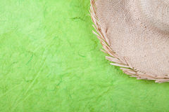 Straw hat on green Stock Images