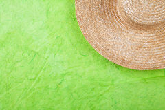 Straw hat on green Royalty Free Stock Photo