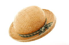 Straw hat with green ribbon. Straw hat with ribbon isolated on white royalty free stock photo