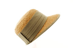 Straw hat with green ribbon. Straw hat with ribbon isolated on white Royalty Free Stock Photos