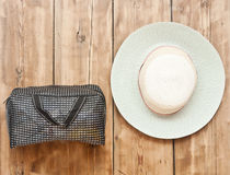 The straw hat and handbag Royalty Free Stock Image