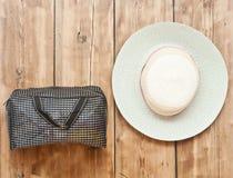 The straw hat and handbag Royalty Free Stock Image