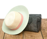 The straw hat and handbag Stock Photography