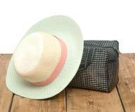 The straw hat and handbag Stock Photography