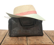 The straw hat and handbag Stock Photo