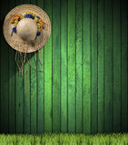 Straw Hat hanging on Green Wood Wall. Straw hat with colored flowers hanging on a green wooden wall with green grass Royalty Free Stock Photography