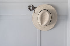 Straw hat hanging Stock Images