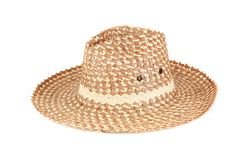 Straw hat isolated on a white background. The straw hat isolated on a white background Stock Image