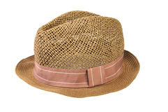 Straw hat isolated on white background. Mens straw hat isolated on white Royalty Free Stock Images