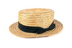 Straw hat Isolated on white background, weave hat royalty free stock image