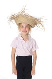 Straw hat kid with rotten teeth Royalty Free Stock Photo