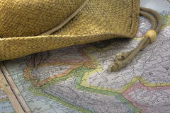 Straw hat over vintage map of South America Stock Photo