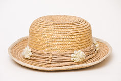 Straw Hat Over White Stock Images
