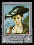 The straw hat, paintings by Rubens. Yemen - CIRCA 1968: stamp printed in Yemen Arab Republic, shows the straw hat, paintings by Rubens, silver frame, circa 1968 stock images