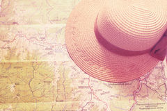Straw hat, panama on the map Stock Image