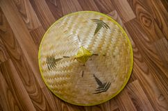Straw hat on parquet stock photo