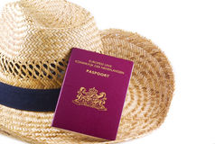 Straw hat with passport. Royalty Free Stock Photos