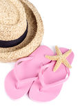 Straw Hat and Pink Flip flops Isolated Royalty Free Stock Photo