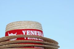 Straw hat with red ribbon in Venice Stock Photo