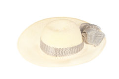 Straw hat with ribbon isolated on white Royalty Free Stock Image