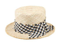 Straw hat with ribbon isolated on white Royalty Free Stock Photography