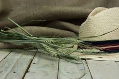 Straw hat on rustic surface Royalty Free Stock Images