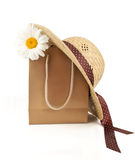 Straw hat, shopping bag  daisy flower Royalty Free Stock Images