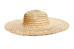 Straw hat side view isolated on white Stock Image