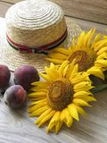 Straw Hat solrosor på tabellen arkivfoto