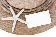 Straw hat and starfish and blank Stock Photos