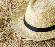 Straw hat on straw Royalty Free Stock Photo