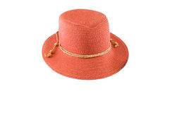 Straw Hat. Summer hat made with red straw summer suitable for both parties and to go to the beach Stock Photos