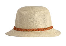 Straw hat. Summer straw hat on white background Royalty Free Stock Photo