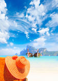 Straw hat on sunbed on Koh Phi Phi Island Stock Photography