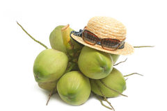 Straw hat and sunglass with  coconut Royalty Free Stock Images