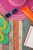 Straw hat and sunglasses on vintage wood.Summer holiday backgrou Royalty Free Stock Photography