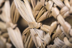 Straw hat texture close-up. Macro photography. Lines of straw and lines are visible stock images