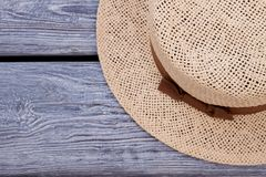 Straw hat, top view. stock photo