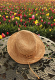Straw hat and tulip flowers Royalty Free Stock Photography