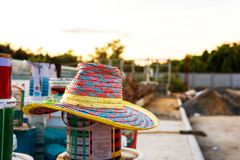 Straw hat was forgotten and left after I finished, work. Stock Photography