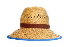 Straw hat on white background. The straw hat on white background Royalty Free Stock Images