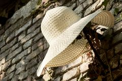 Straw hat with wide flap. handmade, used by farmers Stock Images