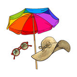 Straw hat with wide flaps, round sunglasses and beach umbrella. Summer straw hat with wide flaps, sunglasses in round frame and beach umbrella, sketch vector Stock Photo