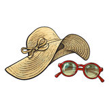 Straw hat with wide flaps and sunglasses in red frame. Fashionable straw hat with wide flaps and sunglasses in red round frame, summer objects, sketch vector Stock Images