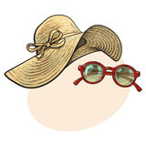 Straw hat with wide flaps and sunglasses in red frame. Fashionable straw hat with wide flaps and sunglasses in red round frame, summer objects, sketch vector Stock Photo