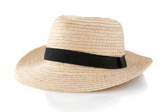 Straw hat withe black ribbon Stock Image