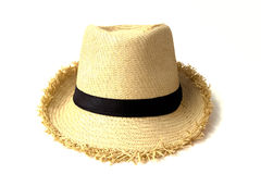 Straw hat withe black ribbon isolated Royalty Free Stock Photos