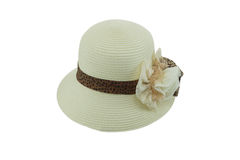 Straw hat withe brown ribbon Stock Photo