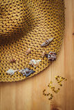 Straw Hat. In wooden background Stock Image