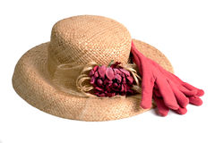 Straw Hat and Work Gloves Royalty Free Stock Photography